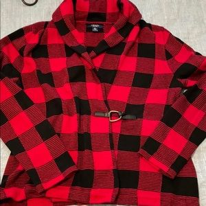 SALE! Chaps Buffalo Plaid Sweater Cardigan Size XL